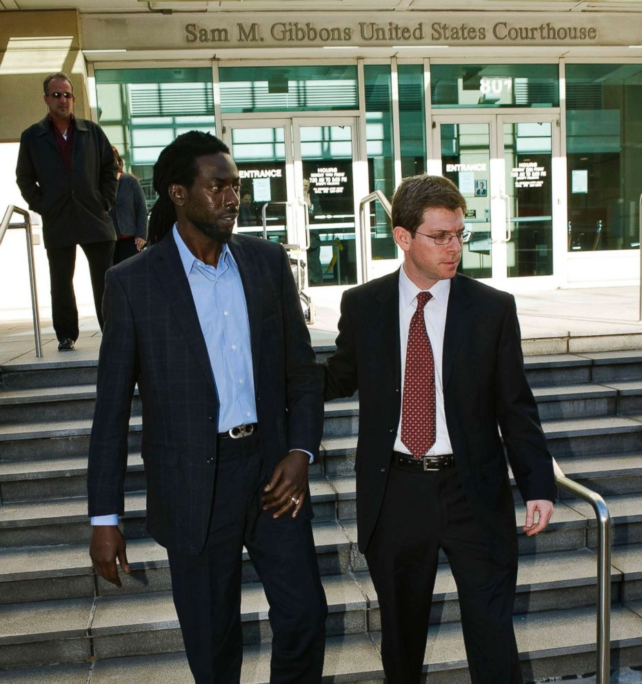 PHOTO: Grammy award winner Buju Banton of Jamaica leaves a federal courthouse with attorney David Markus in Tampa, Fla., Feb. 14, 2011.