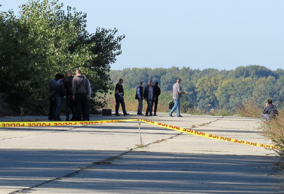 PHOTO: Police investigators walk near a crime scene where TV journalist Viktoria Marinova was murdered in Ruse, Bulgaria, Oct. 7, 2018.