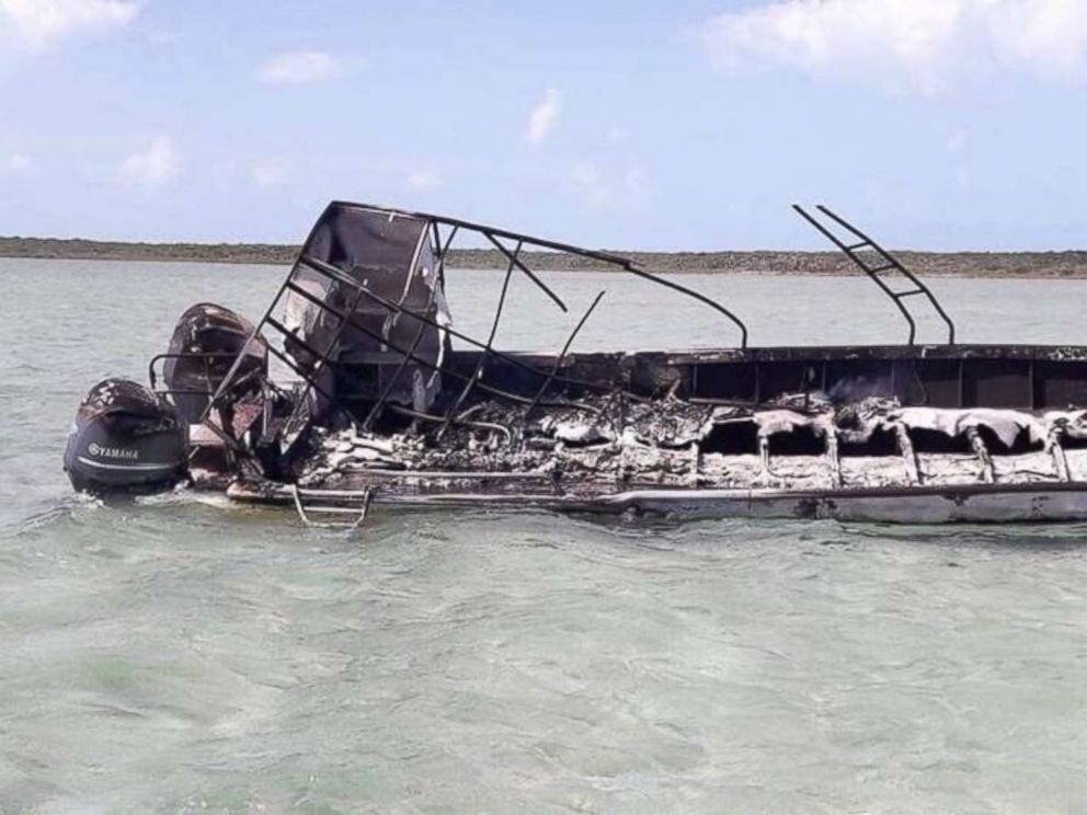All that remained of the boat after the explosion near Exuma, Bahamas, which killed one person, was a burned out frame.