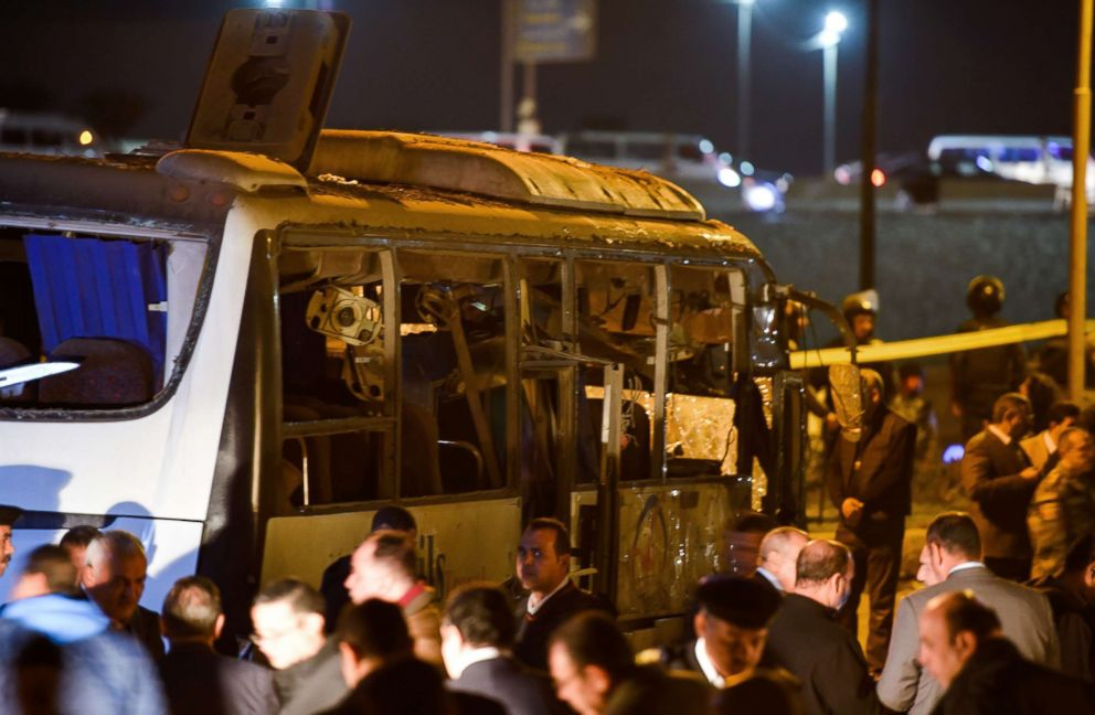 PHOTO: Officials surround a tourist bus which was damaged when a bomb detonated in Giza province, Egypt, Dec. 28, 2018.