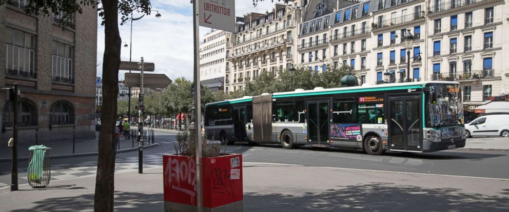 PHOTO: A bus rides through the streets of Paris Aug. 13, 2018.
