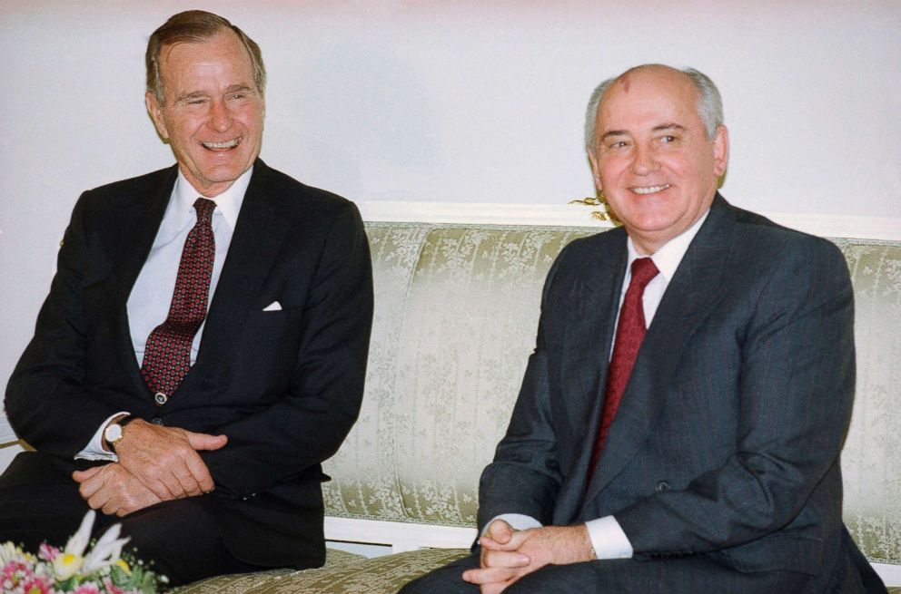PHOTO: President George H. Bush, left, and Soviet President Mikhail Gorbachev sit together at the Soviet Embassy after meeting in Madrid, Spain, Oct. 29, 1991.