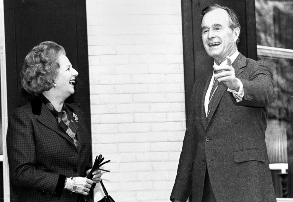 PHOTO: British Prime Minister Margaret Thatcher and U.S. Vice President George H.W. Bush pause for the media on the porch of the Vice Presidents residence before a breakfast meeting in Washington, D.C., Nov. 15, 1986.