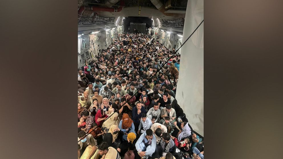 PHOTO: In this photo released by the U.S. Air Force, the C-17 cargo plane that left Kabul's airport on Aug. 15, 2021, was packed with approximately 640 people.