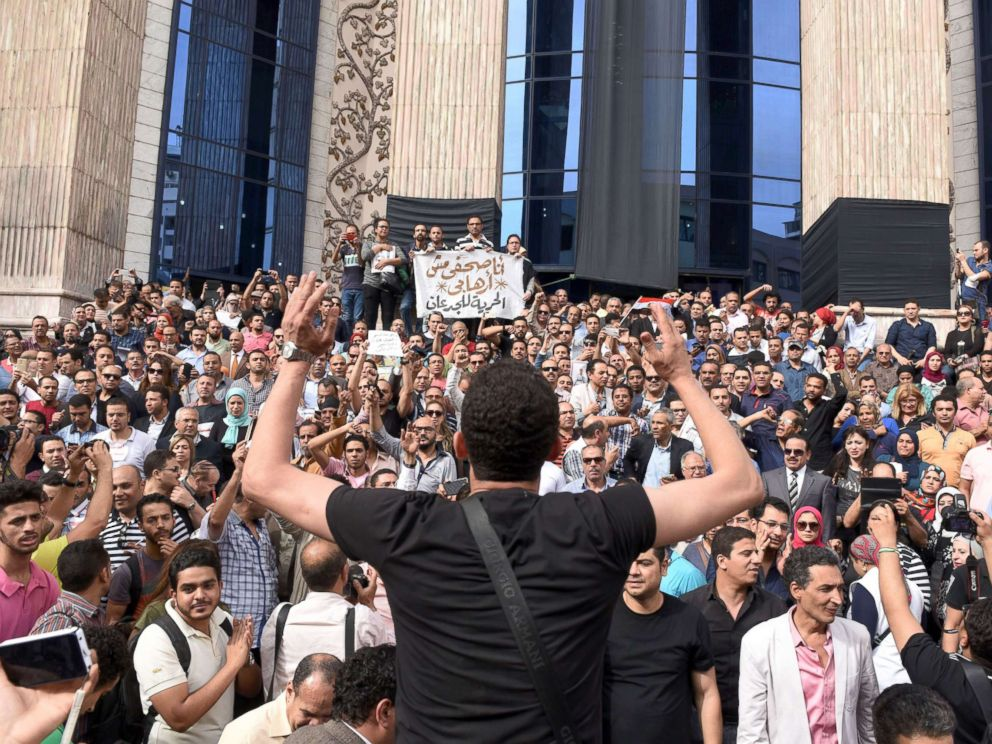PHOTO: In this file photo, hundreds of journalists demonstrate outside the Journalist Syndicate headquarters, in Cairo, May 4, 2016.