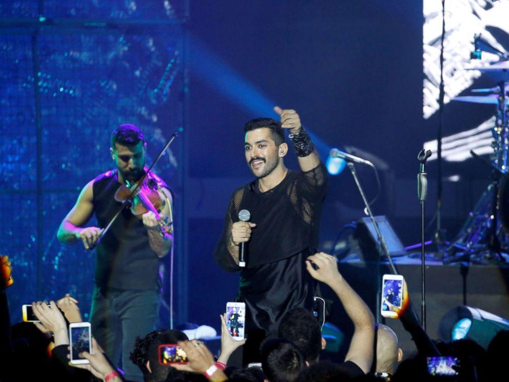 PHOTO: Hamed Sinno (R), the lead singer of Lebanese alternative rock band Mashrou Leila performs during the Ehdeniyat International Festival in Ehden town, Lebanon, Aug. 12, 2017.