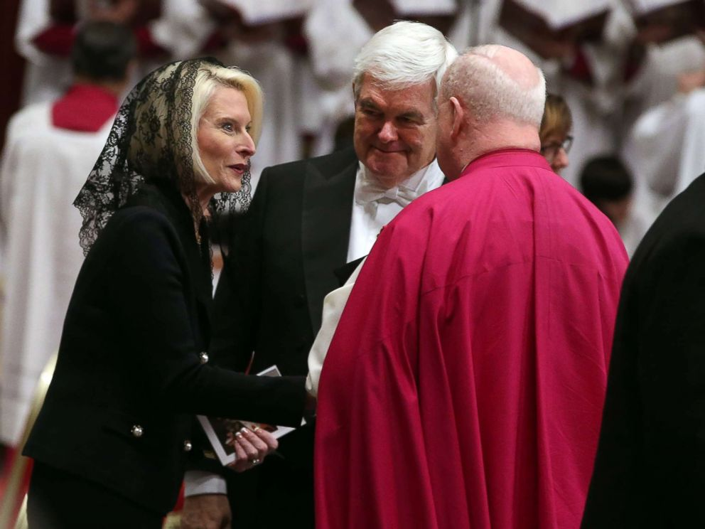 PHOTO: U.S. ambassador Callista Gingrich and her husband Newt Gingrich attend the funeral service for late Cardinal Bernard Law, at the St. Peters Basilica at the Vatican, Dec. 21, 2017.