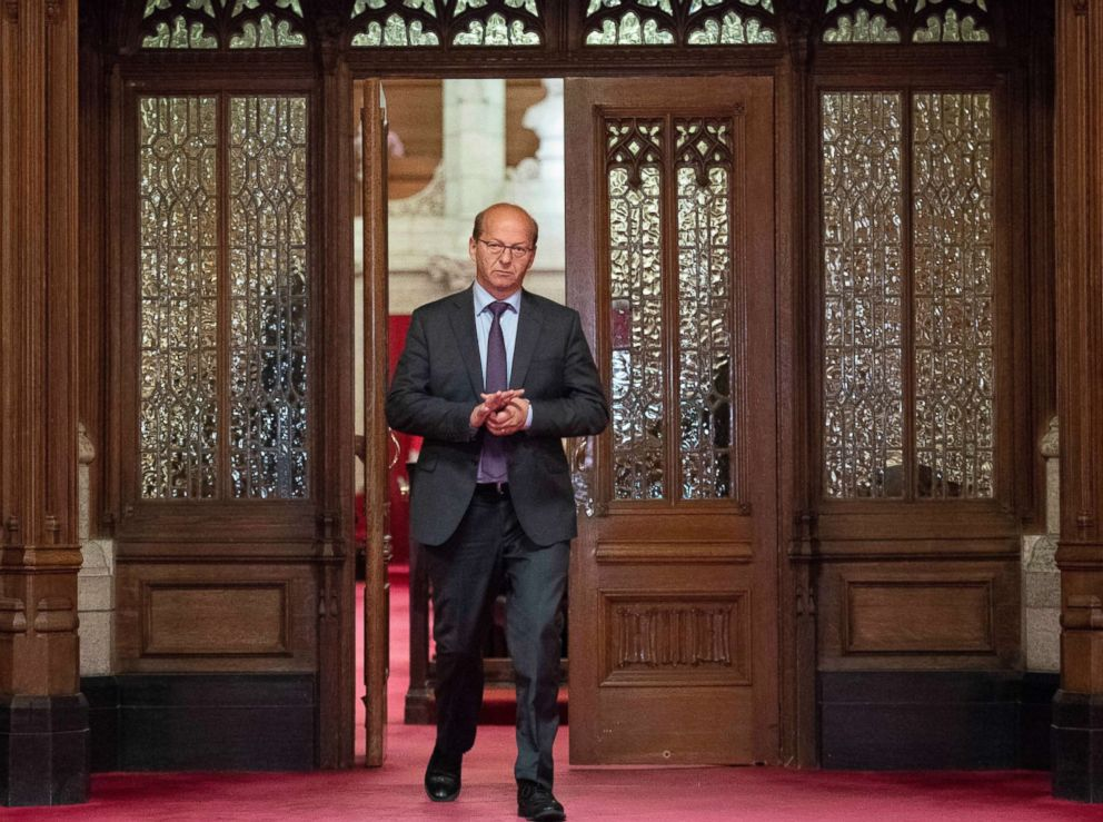 PHOTO: Conservative Sen. Claude Carignan leaves the Senate Chamber after the vote on Bill C-45, the Cannabis Act, in the Senate on Parliament Hill in Ottawa, Ontario, June 19, 2018.