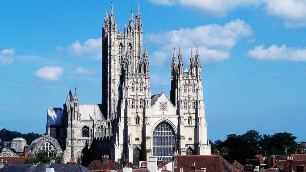 Canterbury cathedral in England is pictured.