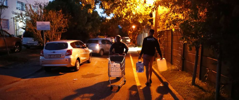 PHOTO: Residents collect drinking water in the early morning from a mountain spring collection point in Cape Town, South Africa, Jan. 31, 2018.