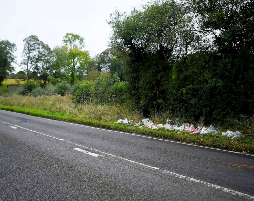 PHOTO: A general view of flowers left in remembrance of Harry Dunn on the B4031 near RAF Croughton on Oct. 7, 2019 near Brackley, England.