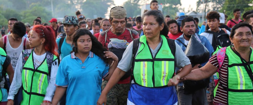 PHOTO: People walk in a caravan of migrants passing through Huixtla, Mexico while making their way to the U.S. border.
