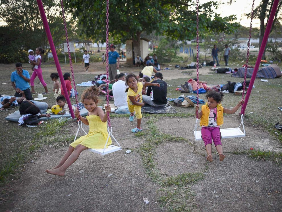 PHOTO: Central American children taking part in a caravan called Migrant Viacrucis play at a sports center field in Matias Romero, Oaxaca state, Mexico, April 2, 2018.