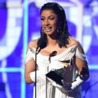 "Cardi B accepts the award for Best Rap Album with ""Invasion Of Privacy"" during the 61st Annual Grammy Awards on Feb. 10, 2019, in Los Angeles."