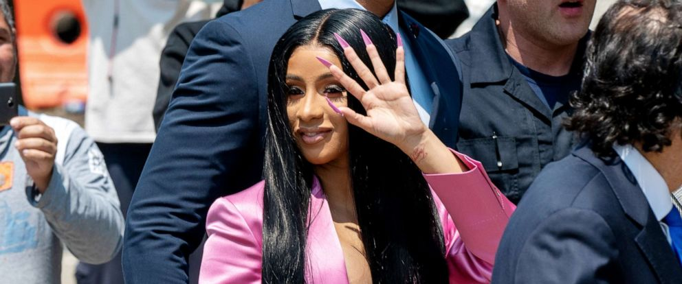 PHOTO: Cardi B arrives at court for the first day of her trial addressing a misdemeanor assault charge at Queens Criminal Court on May 31, 2019, in New York City.