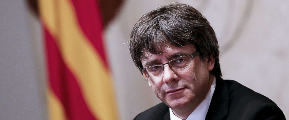 PHOTO: Catalan Regional Government President Carles Puigdemont attends a regional government meeting at the Generalitat Palace in Barcelona on Oct. 10, 2017.