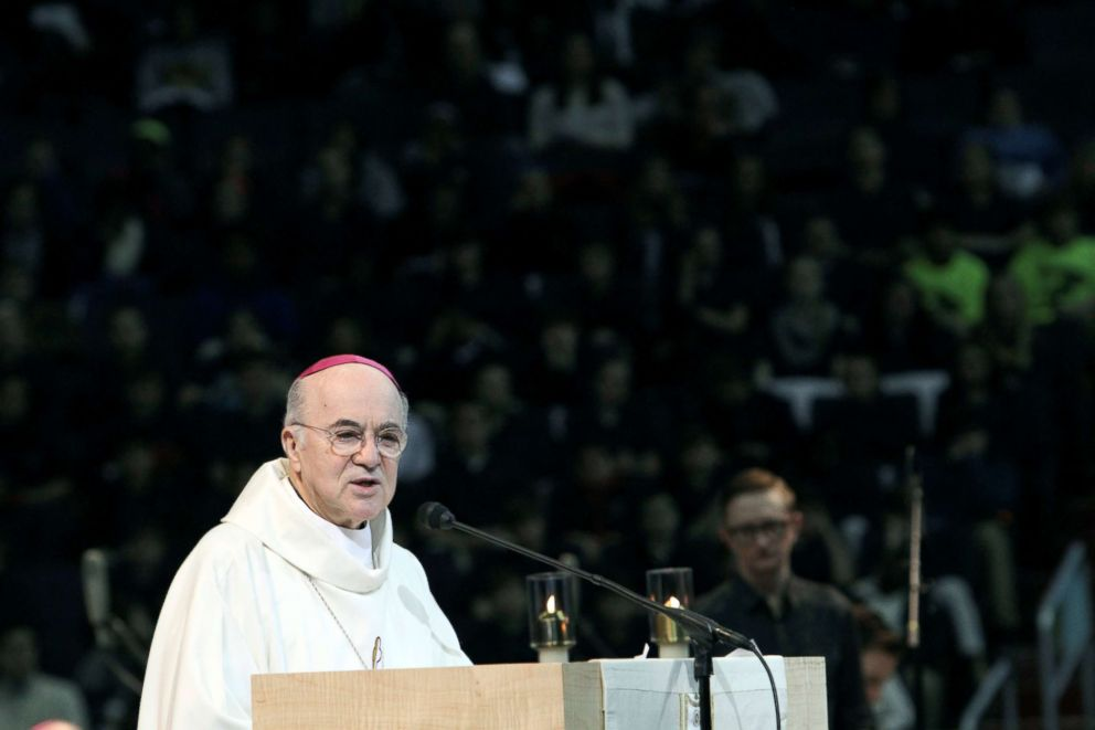 PHOTO: Archbishop Carlo Maria Vigano speaks during a pro-life youth Mass at the Verizon Center in Washington, Jan. 22, 2015.