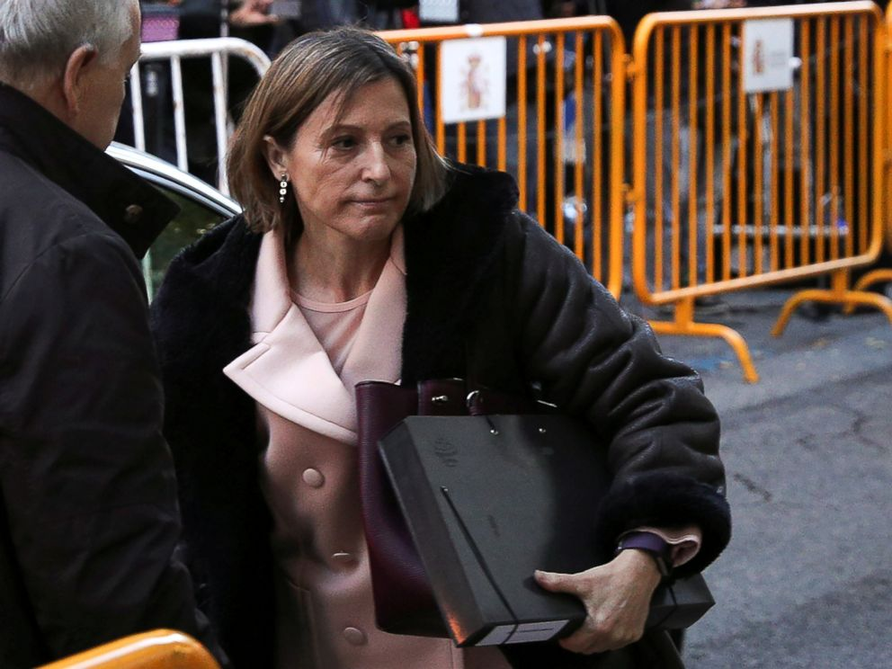 PHOTO: Carme Forcadell, Speaker of the Catalan parliament, arrives to Spains Supreme Court before she was remanded in custody pending payment of a 150,000-euro bail, in Madrid, Spain, Nov. 9, 2017.