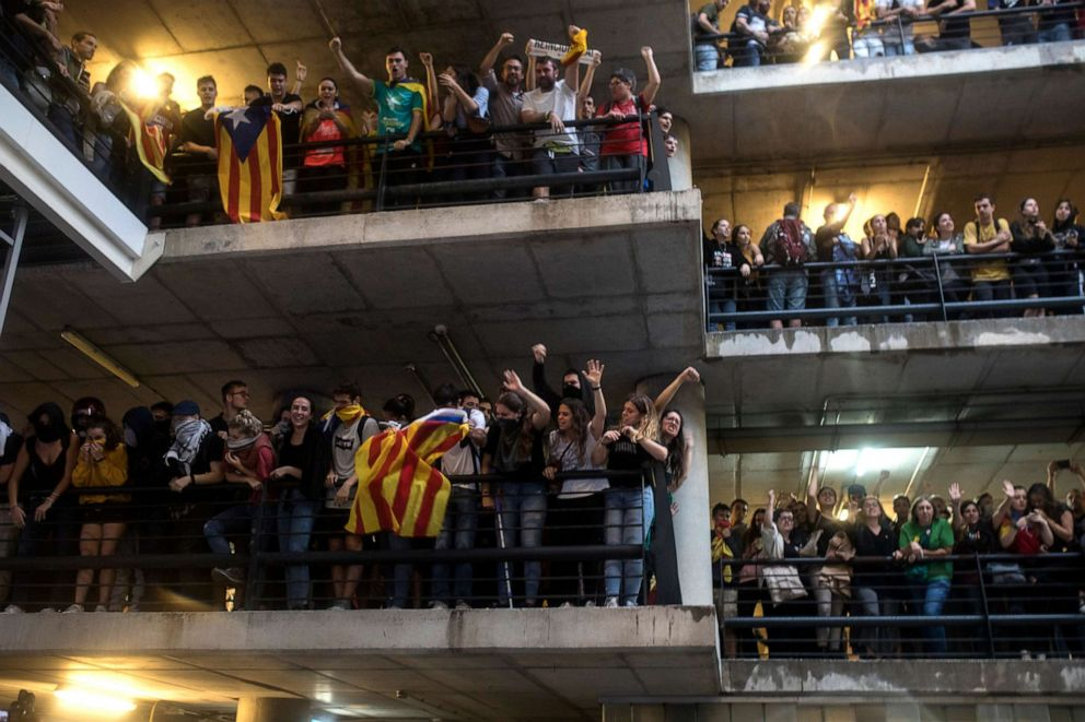 PHOTO:Nine leaders of the Catalan independence movement were jailed on Monday for sedition over their role in a failed independence bid, sparking mass protests across the region, Oct. 14, 2019, in Barcelona.