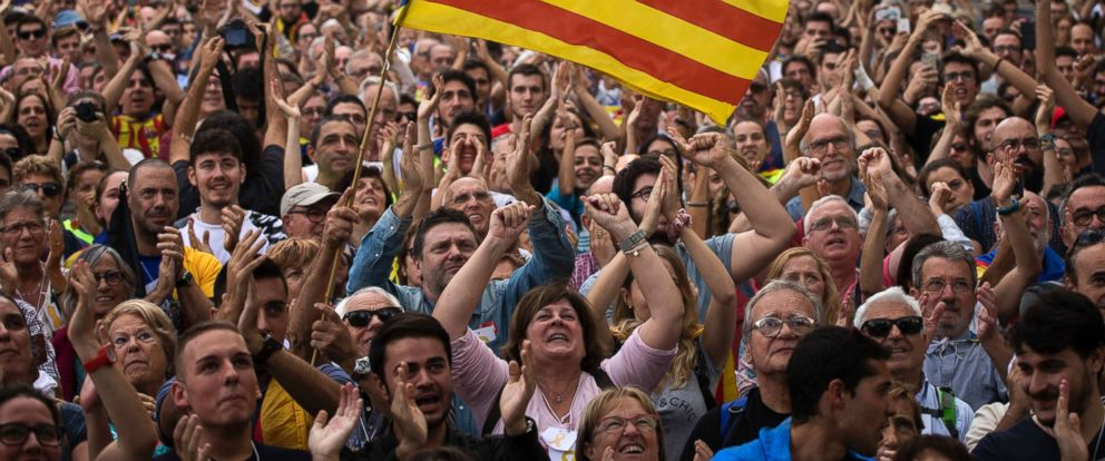 PHOTO: People react as they celebrate the unilateral declaration of independence of Catalonia outside the Catalan Parliament in Barcelona, Spain, Oct. 27, 2017.