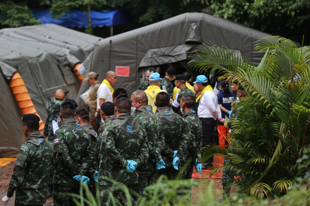 PHOTO: Rescuers and emergency responders who assisted in the rescue of four boys who were trapped in a Thailand cave.