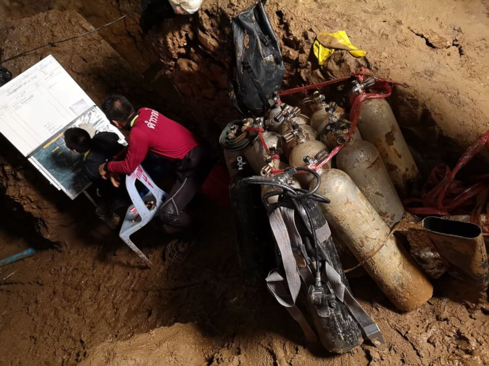 Rescuers work on a plan to extract 12 boys and their soccer coach trapped inside the Tham Luang Nang Non cave, Chiang Rai province, Thailand.