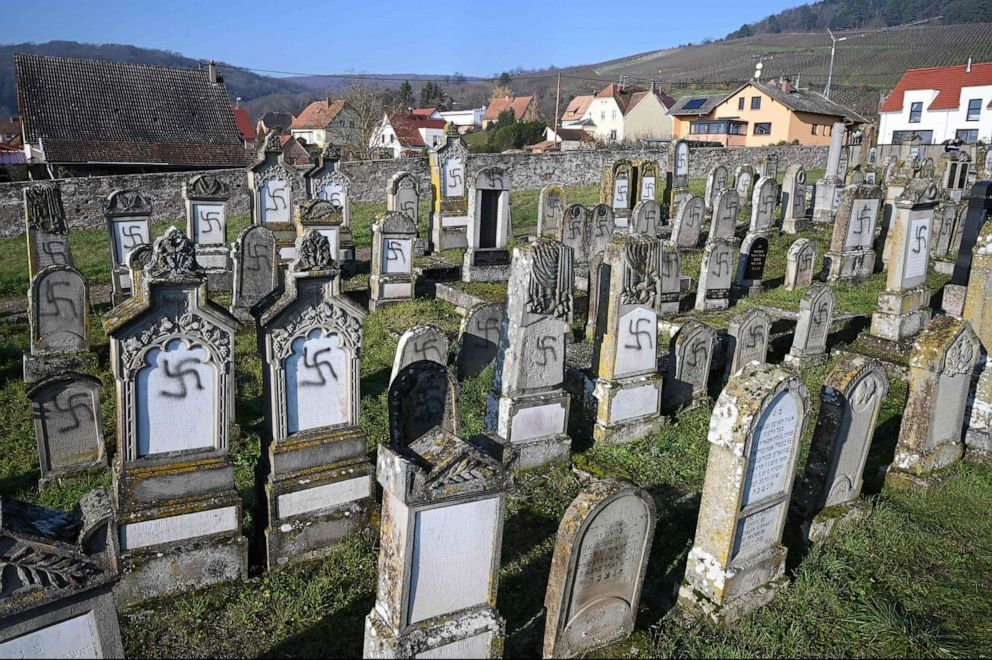 PHOTO: The Jewish Westhoffen cemetery near Strasbourg, eastern France, after 107 graves were found vandalized with swastikas and antisemitic inscriptions, Dec. 4, 2019.