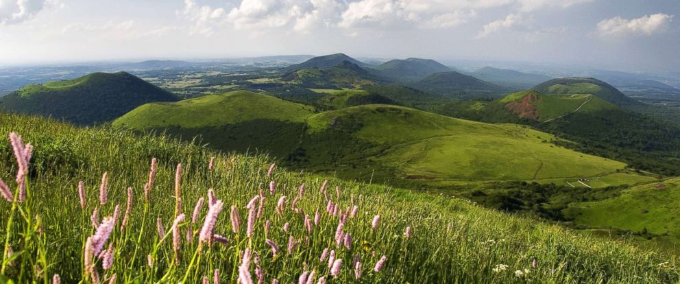 """PHOTO: A view from Puy de Dome onto the volcanic landscape of """"Chaine des Puys,"""" May 18, 2015, in Auvergne, France."""