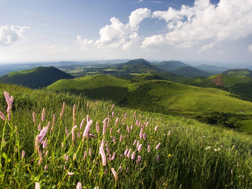 PHOTO: A view from Puy de Dome onto the volcanic landscape of Chaine des Puys, May 18, 2015, in Auvergne, France.