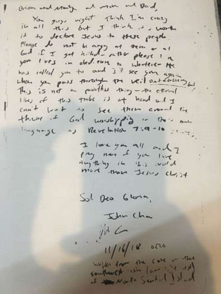 PHOTO: John Chau writes to his family about spreading Christianity to a tribe on North Sentinel Island.