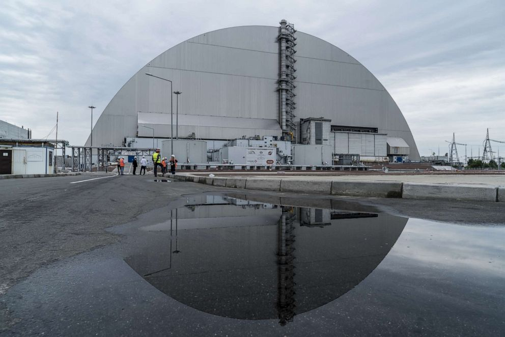 PHOTO: The New Safe Confinement at the Chernobyl Nuclear Power Plant is shown on July 2, 2019, in Pripyat, Ukraine.
