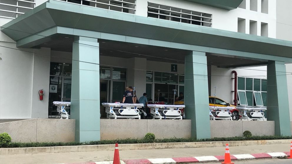 Stretchers are lined up at Chiangrai Prachanukroh Hospital in anticipation of the boys' removal. It is unclear how soon that will happen, however.