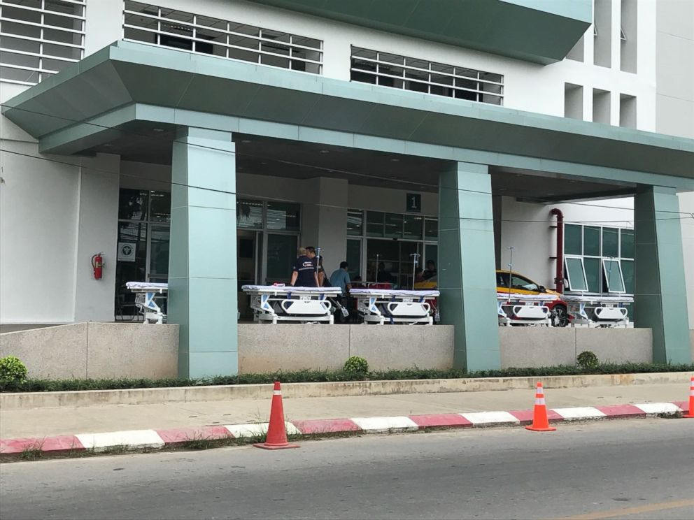 Stretchers are lined up at Chiangrai Prachanukroh Hospital in anticipation of the boys removal. It is unclear how soon that will happen, however.