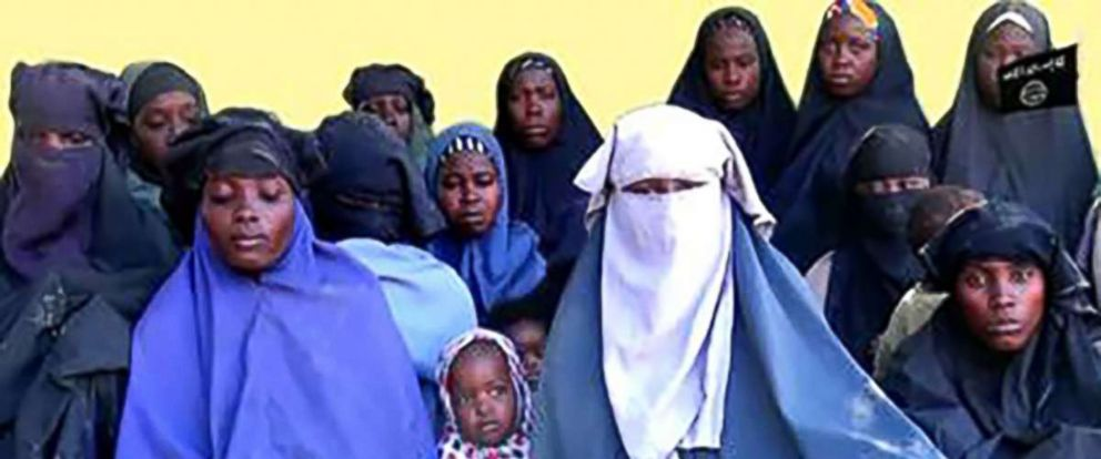 PHOTO: In this video grab made, Jan. 15, 2018, from a video released the same day by Islamist militant group Boko Haram shows at least 14 of the schoolgirls abducted from the northeast Nigerian town of Chibok in April 2014.
