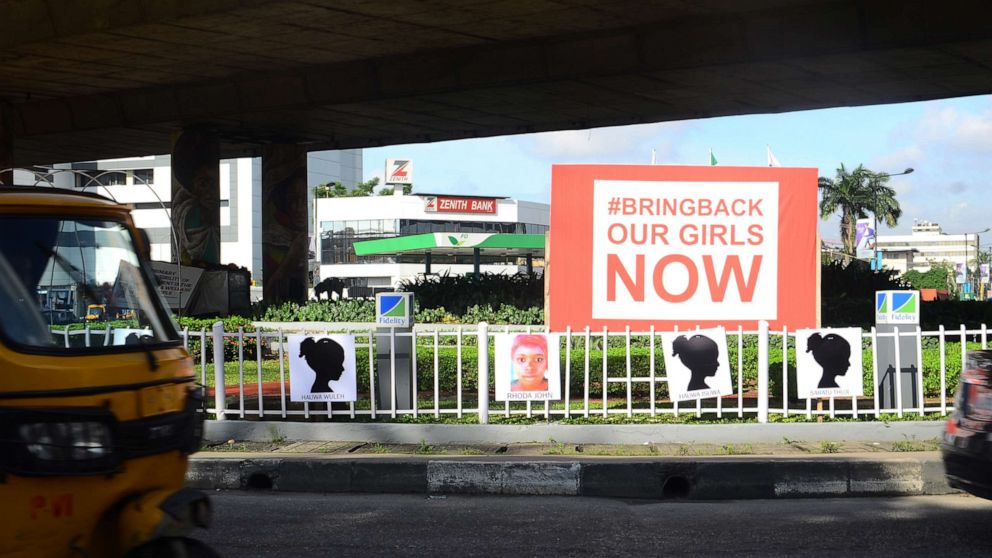 PHOTO:Posters supporting the #BringBackOurGirls movement are seen at the Falomo Roundabout in the Ikoyi neighborhood of Lagos, Nigeria, on Oct. 5, 2019.
