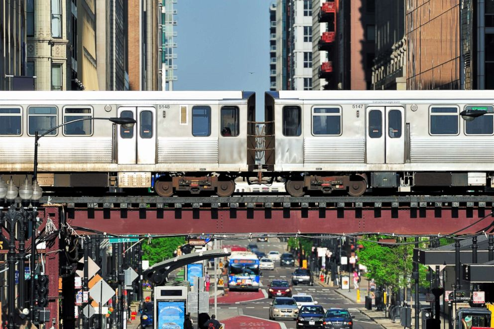 PHOTO: Rapid transit trains pass on elevated tracks in Chicagos Loop in this undated stock photo.