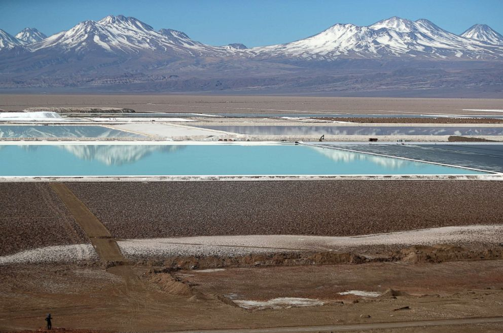 PHOTO: Brine pools from a lithium mine, that belongs US-based Albemarle Corp, is seen on the Atacama salt flat in the Atacama desert, Chile, Aug. 16, 2018.