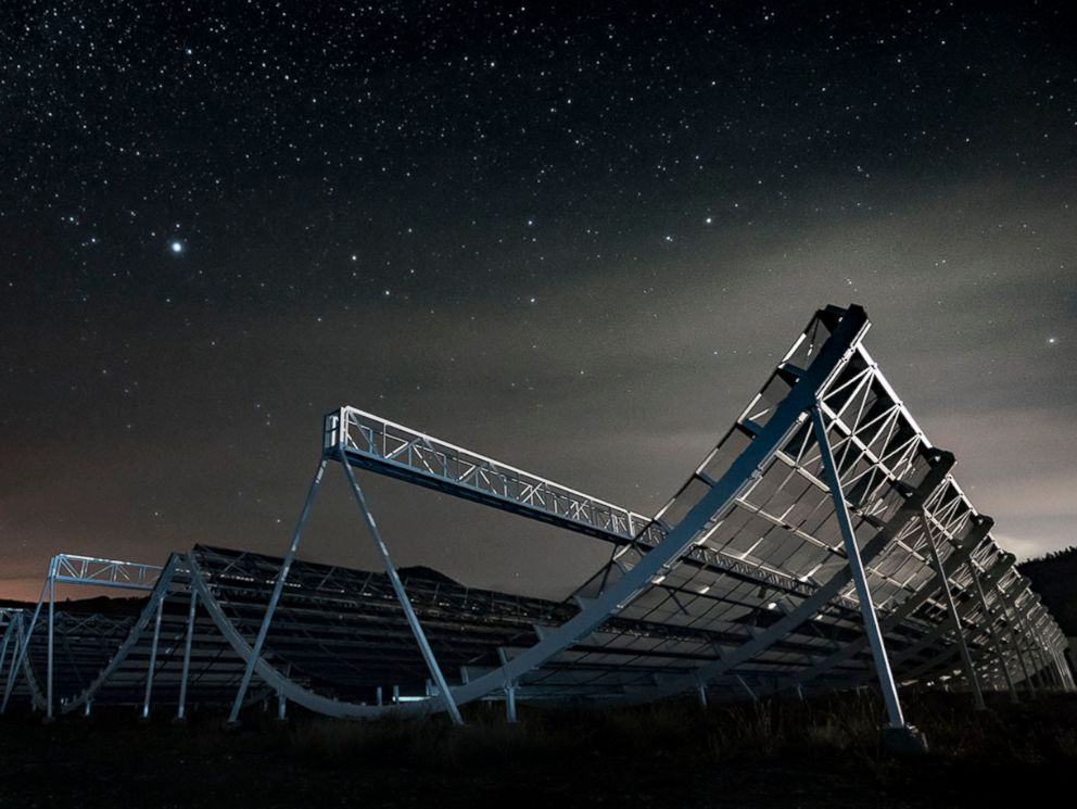 PHOTO: The Canadian Hydrogen Intensity Mapping Experiment radio telescope, known as CHIME, is pictured in an undated handout photo.