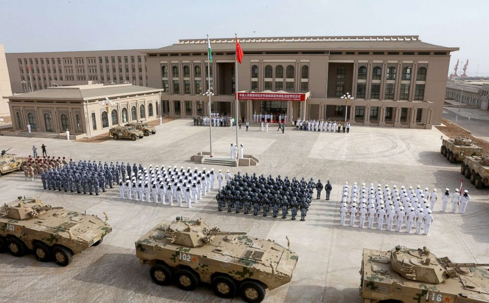 PHOTO: The Chinese Peoples Liberation Army personnel attend the opening ceremony of Chinas new military base in Djibouti, Aug. 1, 2017.