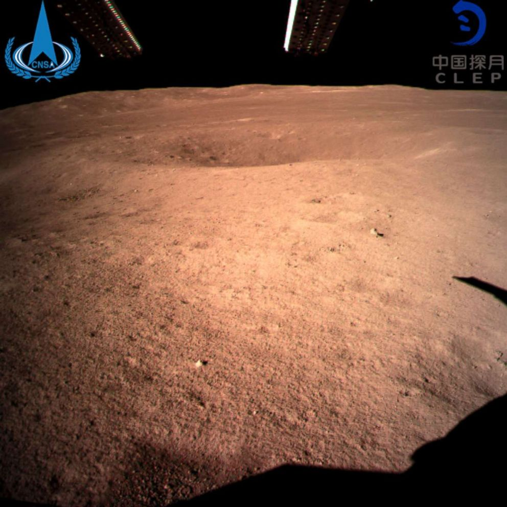 PHOTO: In this photo provided Jan. 3, 2019, by China National Space Administration via Xinhua News Agency, the first image of the moons far side taken by Chinas Change-4 probe.