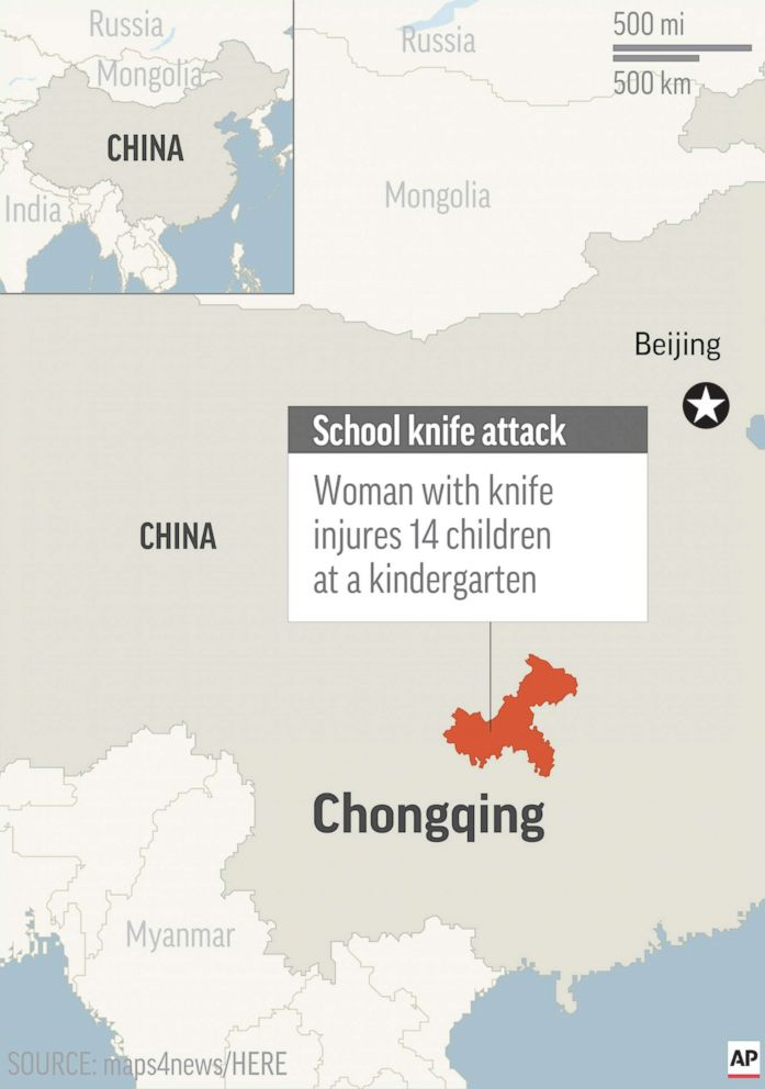 PHOTO: Map locates Chongqing, China, where a woman with knife injured children at a kindergarten.