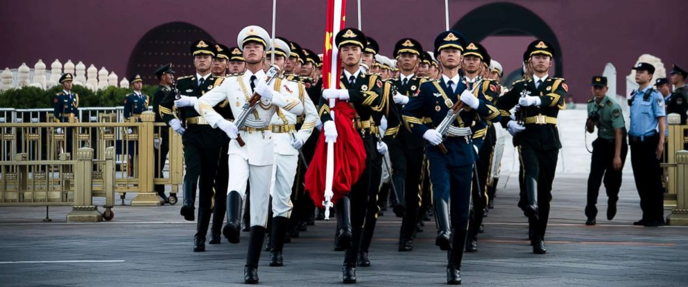 PHOTO: Soldiers of the Chinese National Flag Guard of Honor walk to Tiananmen Square for the flag-raising ceremony on the Chinas Army Day on Aug. 1, 2018 in Beijing.