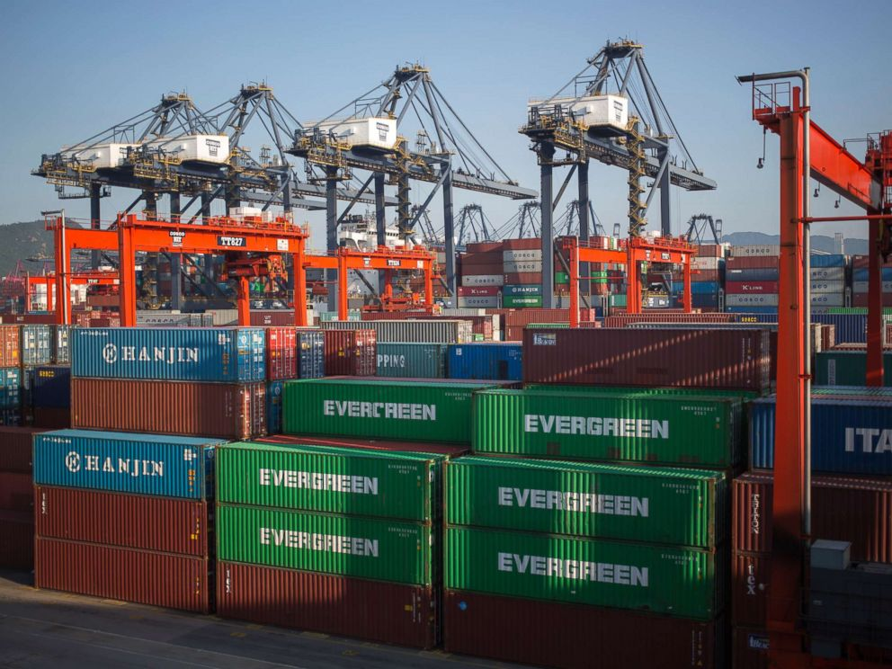 PHOTO: In this file photo, shipping containers are stacked in the Kwai Tsing Terminals in Hong Kong, China, Aug. 28, 2013.  China hints it may retaliate against US for new tariffs china us tariffs 01 ss jc 180615 hpMain 4x3 992