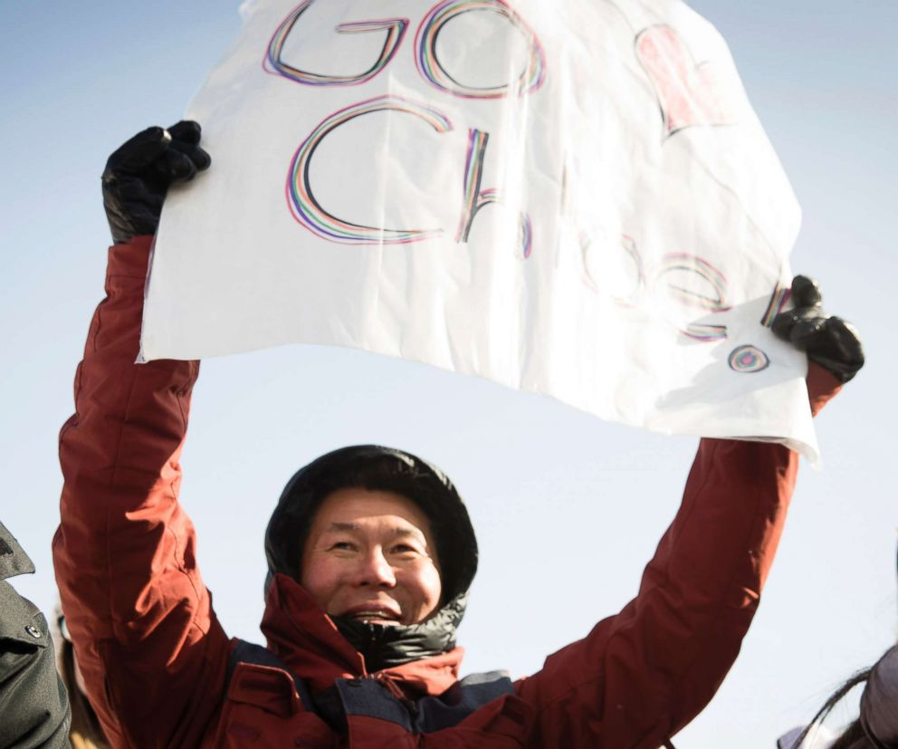 PHOTO: Jong Jin Kim, the father of U.S. snowboarder Chloe Kim, cheering as he watches her compete in the womens halfpipe final, Feb. 13, 2018.