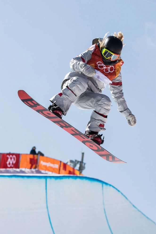 PHOTO: Chloe Kim of the U.S. competes during ladies halfpipe finals of snowboard at the 2018 PyeongChang Winter Olympic Games at Phoenix Snow Park in PyeongChang, South Korea, on Feb. 13, 2018.