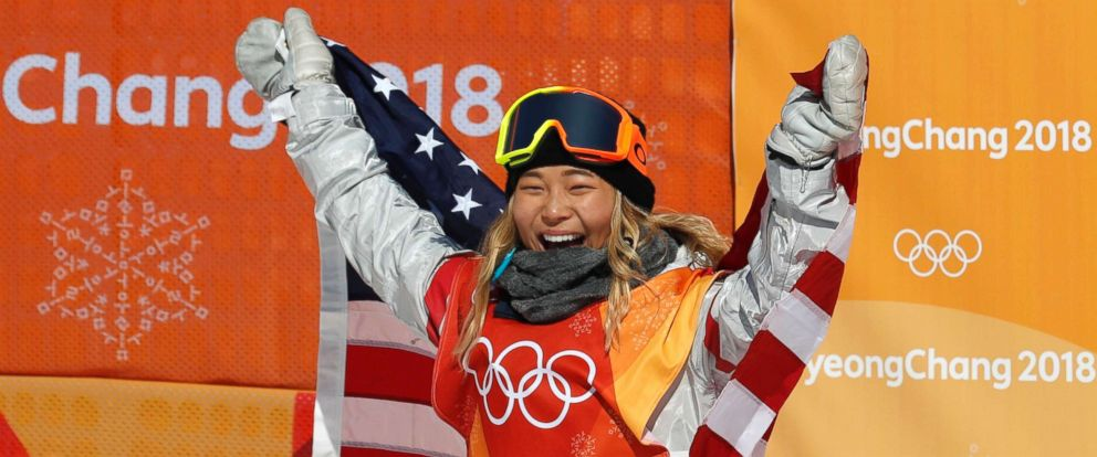 PHOTO: Chloe Kim wins the gold for the womens halfpipe finals snowboarding competition in Phoenix Snow Park during the Pyeongchang 2018 Winter Olympics, Feb. 13, 2018, in Pyeongchang, South Korea.