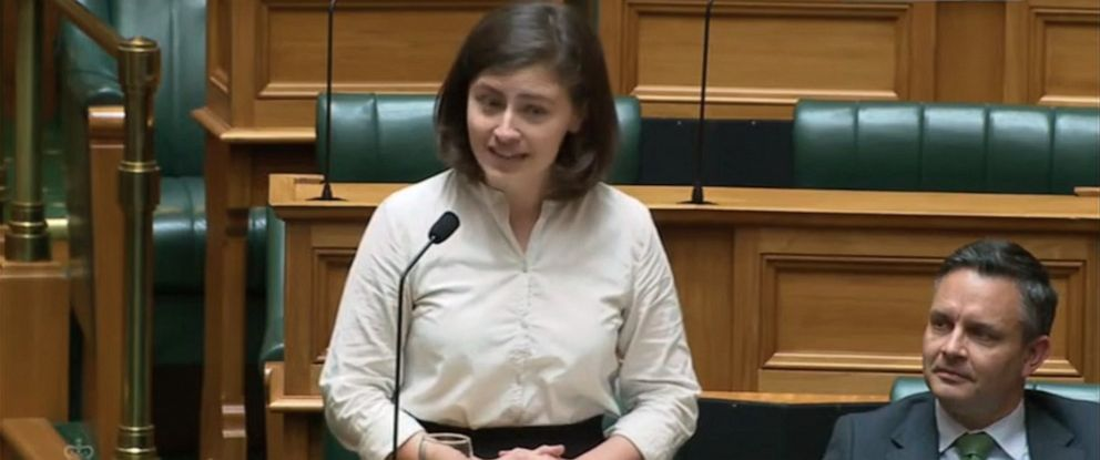 PHOTO: Lawmaker Chloe Swarbrick, a member of New Zealands Green Party, speaks about climate change in the New Zealand Parliament on Nov. 5, 2019.