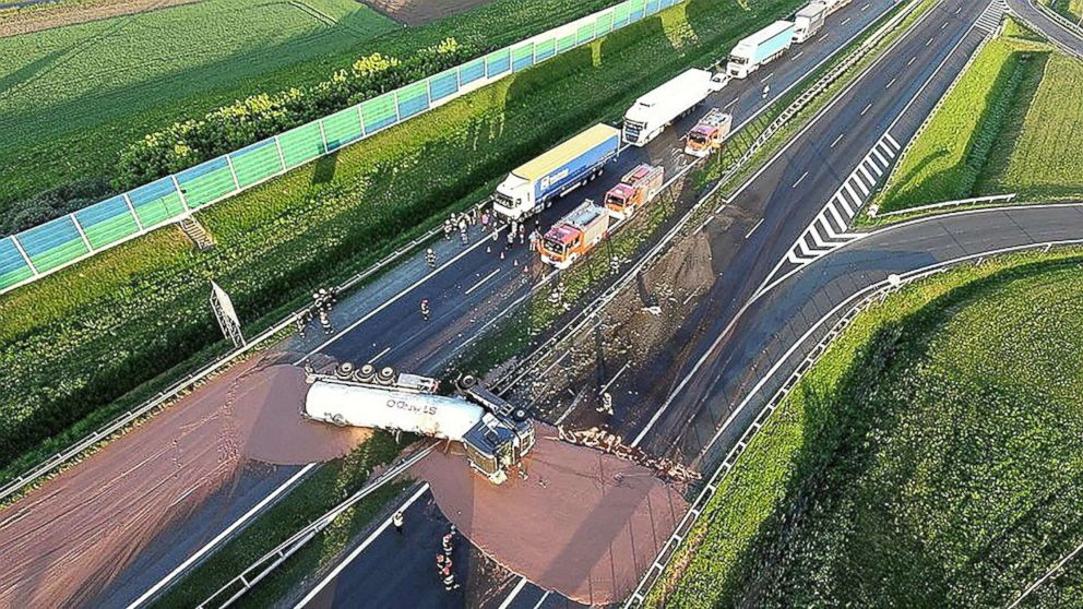 PHOTO: This aerial photo captures a tractor-trailer that overturned on a Polish highway in central Poland on May 09, 2018.