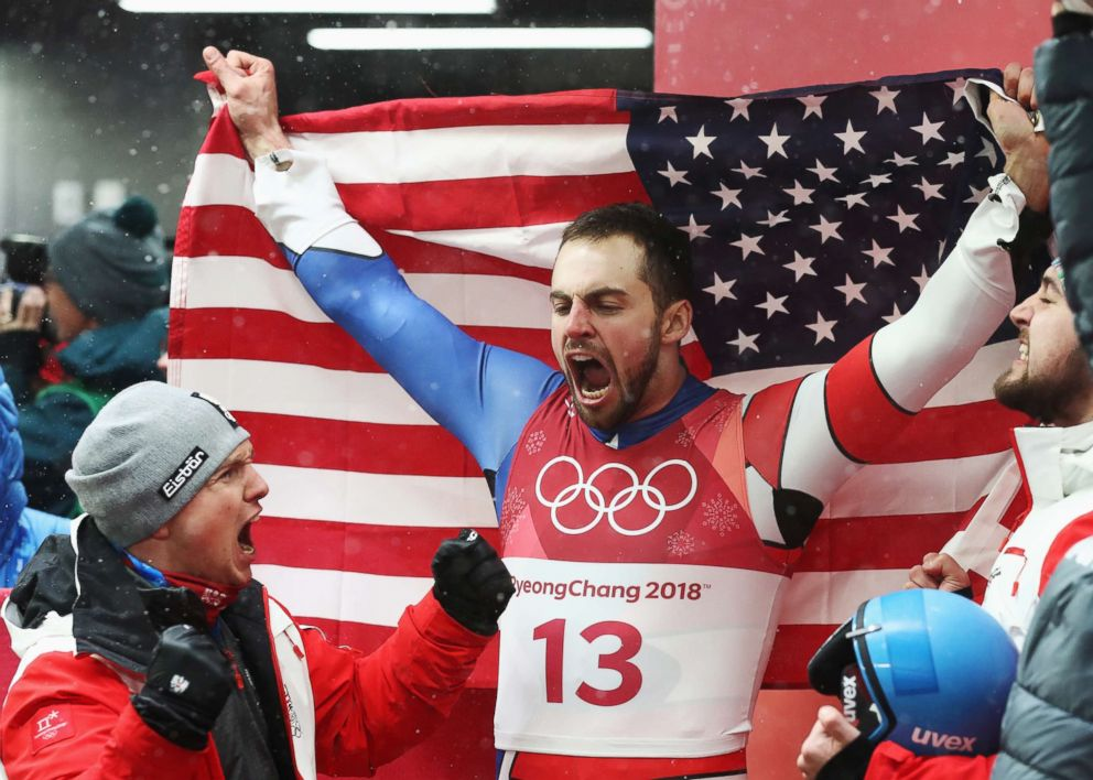 PHOTO: Chris Mazdzer of the U.S. celebrates winning the silver medal during the Luge Mens Singles on day two of the Pyeongchang 2018 Winter Olympic Games, Feb. 11, 2018 in Pyeongchang, South Korea.