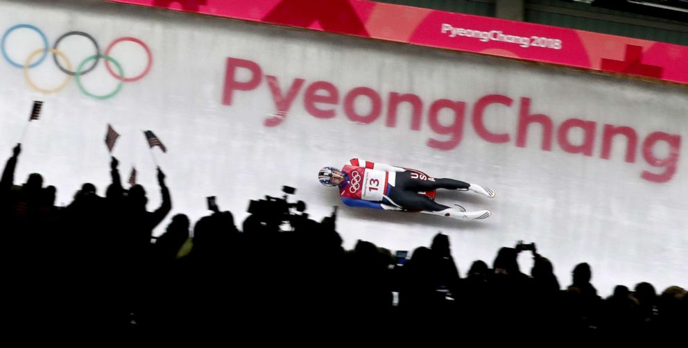 PHOTO: Chris Mazdzer of the U.S. in action during the mens luge singles run 3 competition at the Olympic Sliding Centre during the Pyeongchang 2018 Olympic Games, South Korea, Feb. 11, 2018.